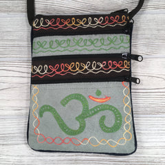 Boho Passport Embroidery Bag - Om - Green Gray