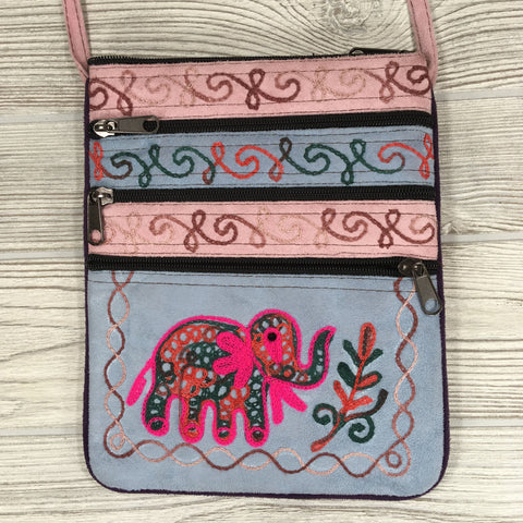 Boho Passport Embroidery Bag - Elephant - Blue Pink