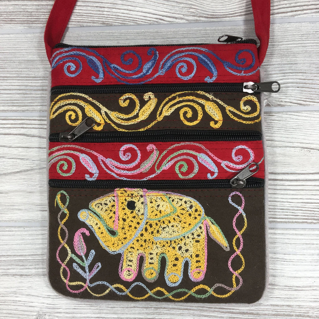 Boho Passport Embroidery Bag - Elephant - Brown Pink
