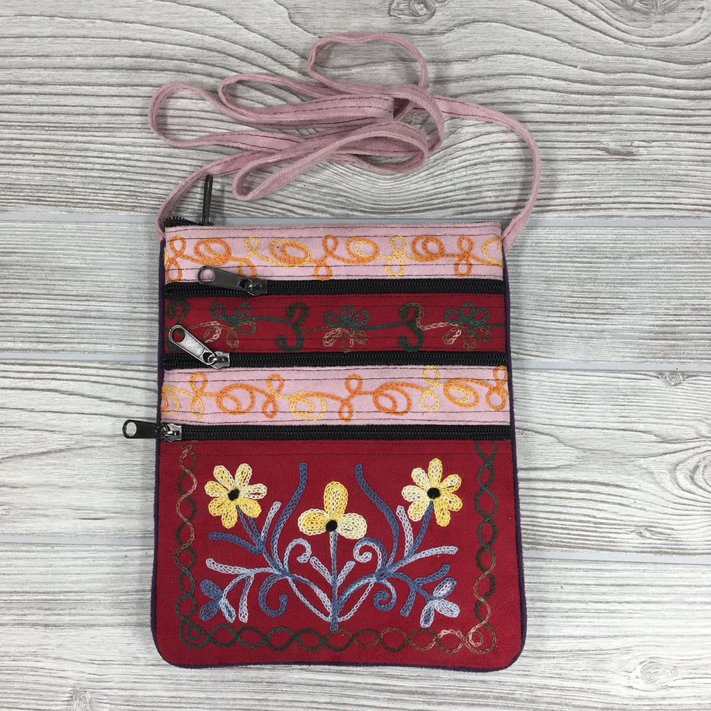 Boho Passport Embroidery Bag - Flower - Pink