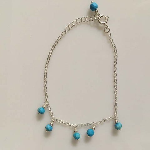 Sterling Silver Minimalist Bracelet - Turquoise