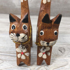 Handcarved Wooden Mini Cats - Natural Wood Handpainted - Set of 4