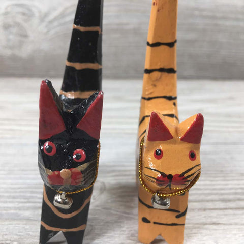 Handcarved Wooden Mini Cats - Multi Colors Wood Handpainted - Set of 4