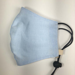 MEDIUM Oxford Cotton Adjustable Face Masks Filter Pocket - Baby Blue