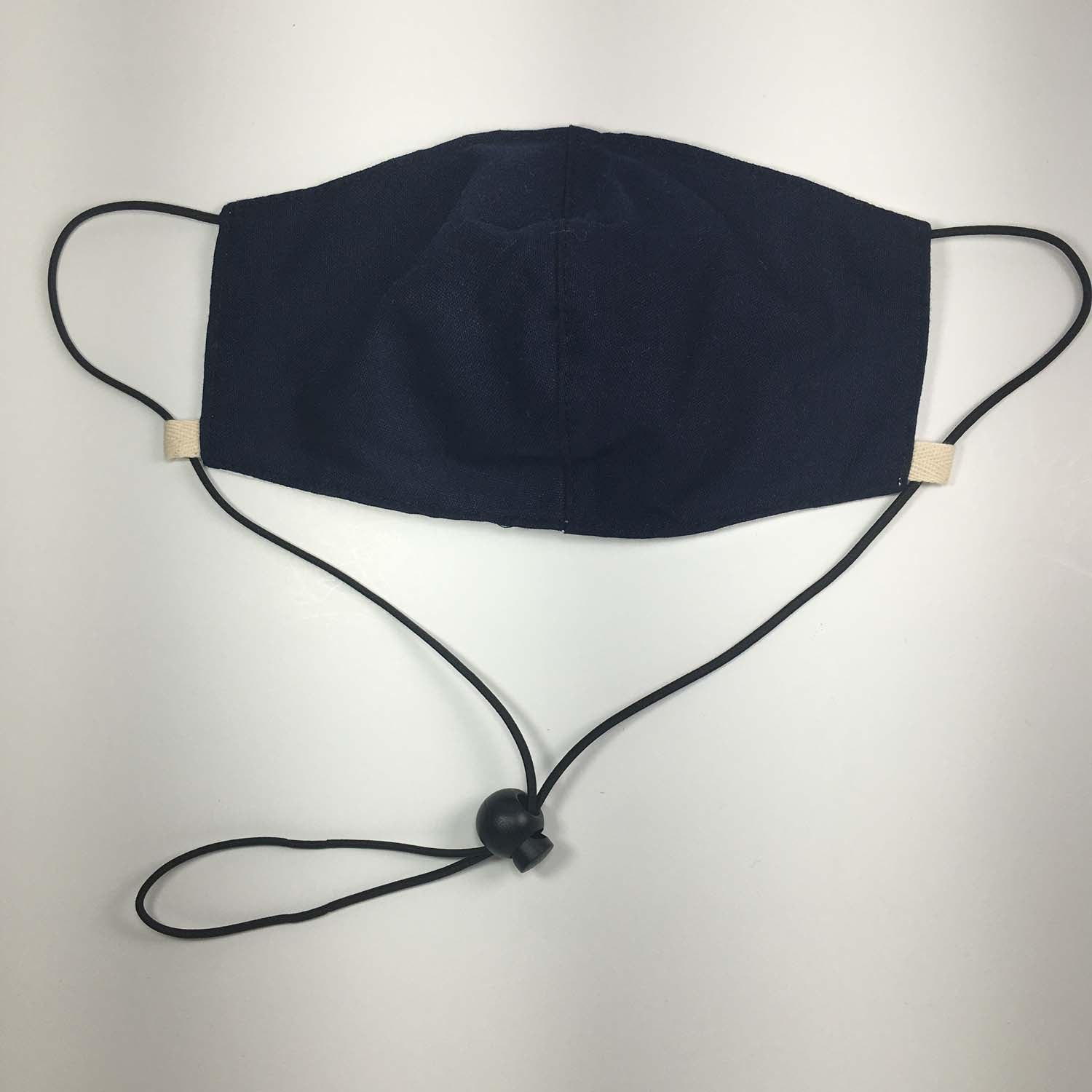 MEDIUM Oxford Cotton Adjustable Face Masks Filter Pocket - Navy