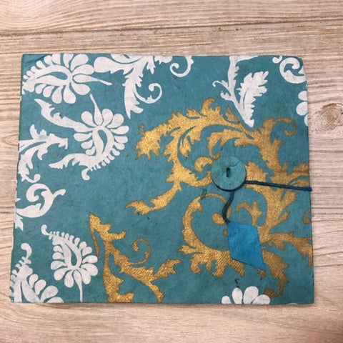Handmade Paper Photo Album Journal - Small - Floral Blue Gold White