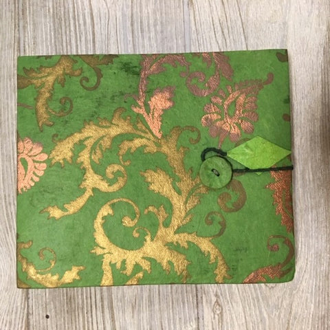 Handmade Paper Photo Album Journal - Small - Floral Green / Gold