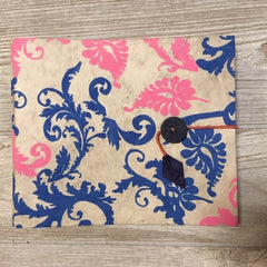 Handmade Paper Photo Album Journal - Small - Floral White / Pink Blue