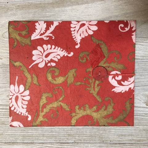 Handmade Paper Photo Album Journal - Small - Floral Red / White Gold