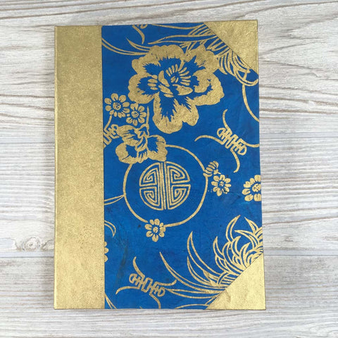 Handmade Lokta Paper Journal Floral Asian Inspired Cover - Blue / Gold