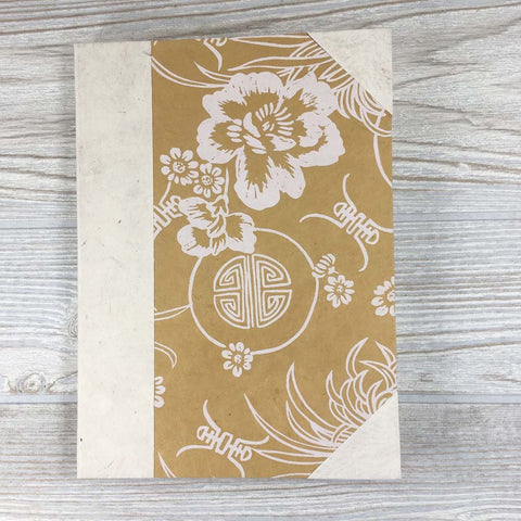 Handmade Lokta Paper Journal Floral Asian Inspired Cover - Gold / White
