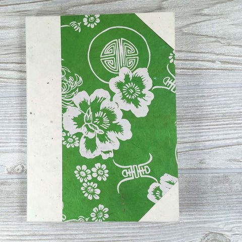 Handmade Lokta Paper Journal Floral Asian Inspired Cover - Green / White