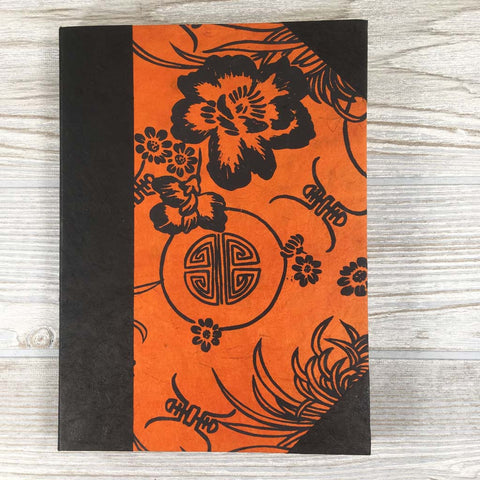 Handmade Lokta Paper Journal Floral Asian Inspired Cover - Orange / Black