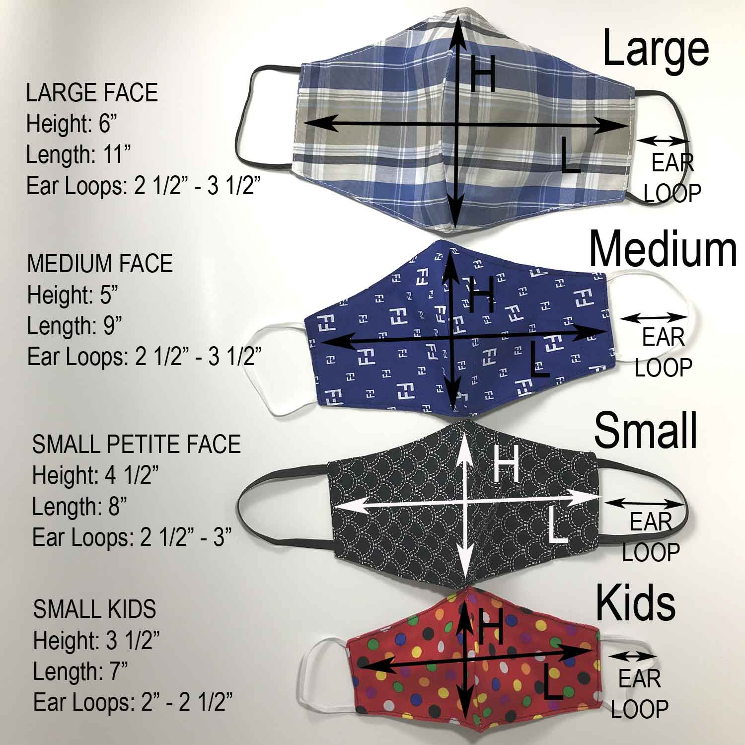 Handmade Cloth / Cotton Face Masks - Reversible 3D Medium - 203-205