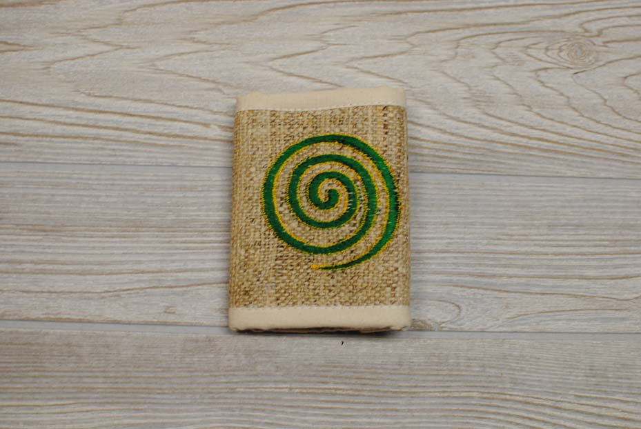 Hemp Bi-Fold Wallet - Green Swirl