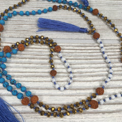 Knotted Crystal Ceramic Mala Necklace Sky Blue