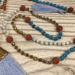 Knotted Crystal Ceramic Mala Necklace Baby Blue