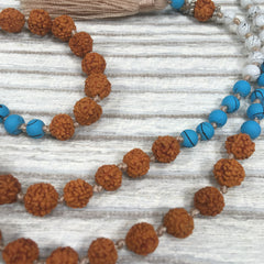 Knotted Crystal Ceramic Rudraksha Mala Necklace Champagne