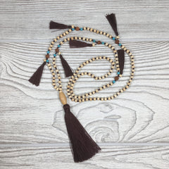 Knotted Wood Mala Necklace Dark Brown Tassels