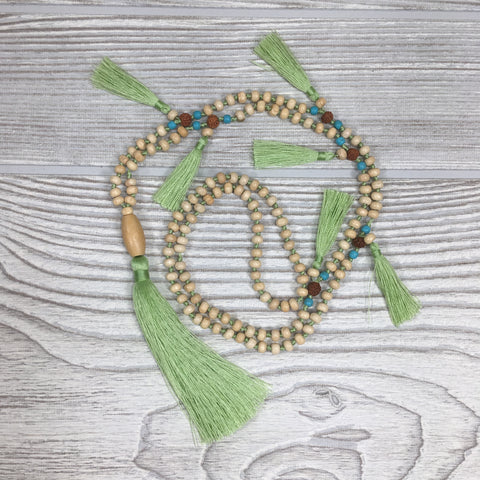 Knotted Wood Mala Necklace Mint Green Tassels