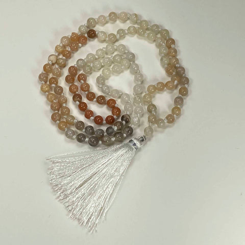 108 Japa Mala Meditation Necklace - Moonstone