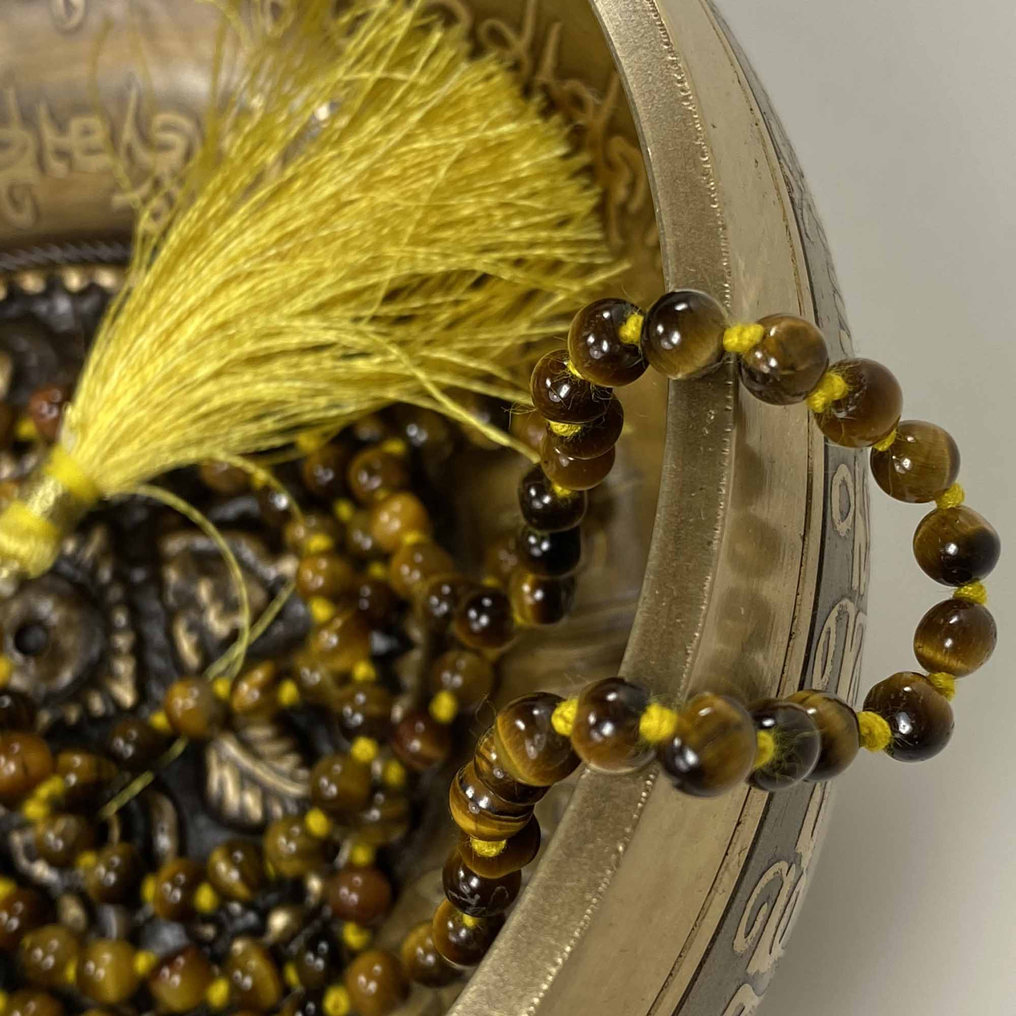 108 Japa Mala Meditation Necklace - Tiger Eye