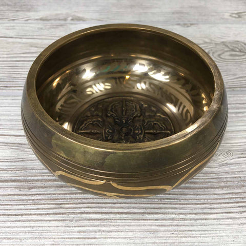 Singing Bowl - Embossed with Thunderbolt / Double Vajra - 4 1/2""
