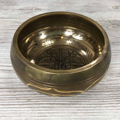 "Singing Bowl - 4 1/2"" - Embossed with Thunderbolt / Double Vajra"