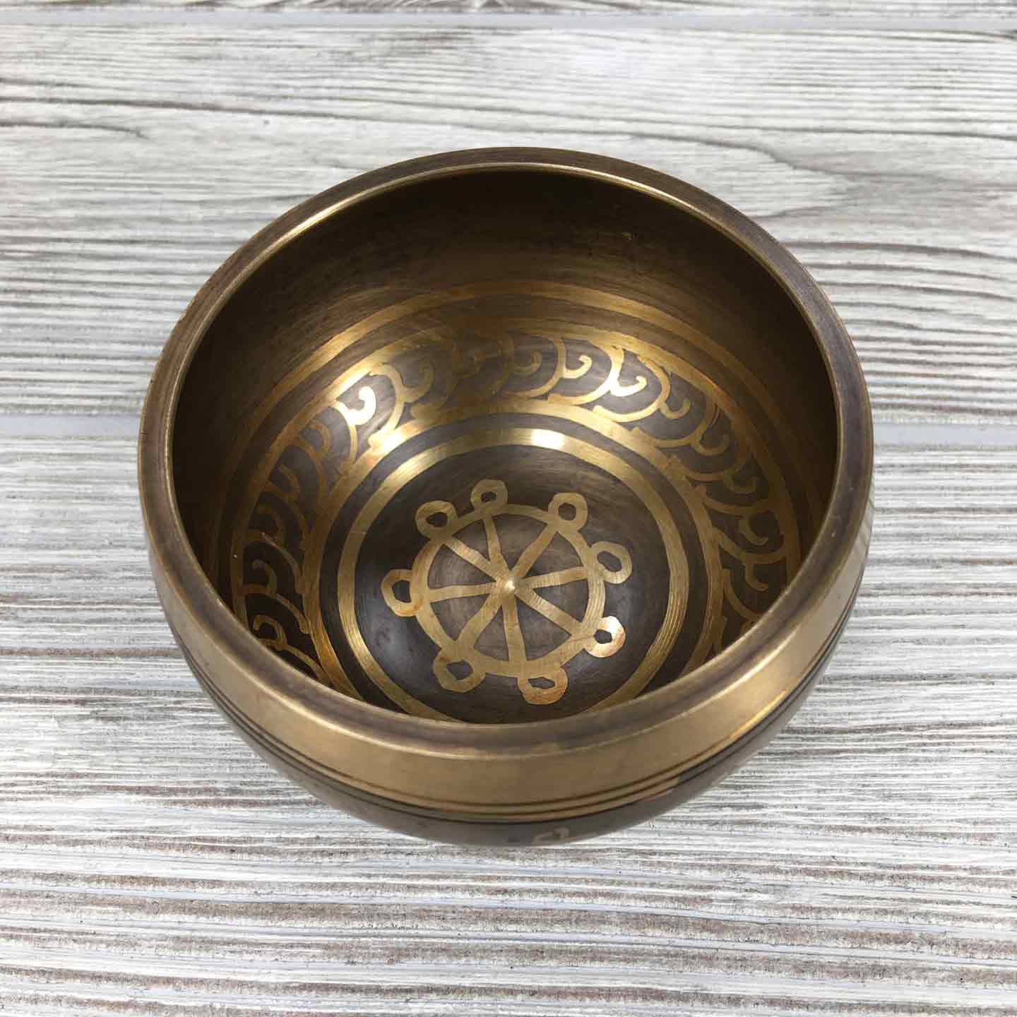 Singing Bowl - Etched Dharma Wheel - 3 1/2""