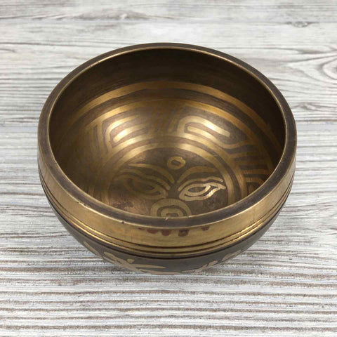 Singing Bowl - Etched Buddha Eyes - 3 1/2""