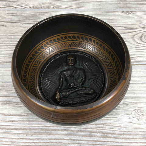 "Singing Bowl - 4 1/2"" - Embossed with Buddha"