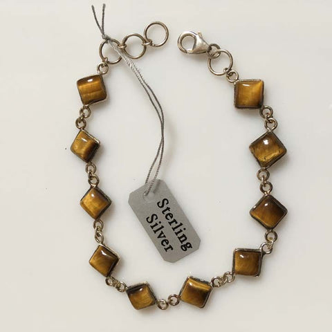 Tiger Eye Gemstone Sterling Silver Link Bracelet
