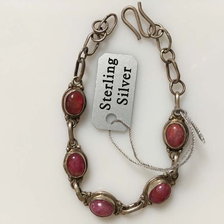 Ruby Gemstone Sterling Silver Link Bracelet