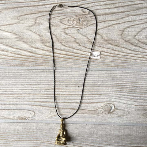 Brass Pendant Necklace - Buddha