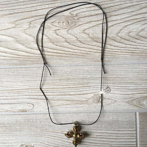 Brass Pendant Necklace - Double Thunder Bolt
