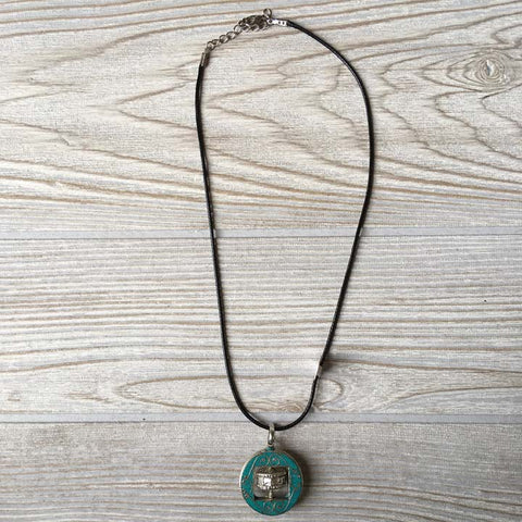 Tibetan Silver Pendant Necklace - Prayer Wheel