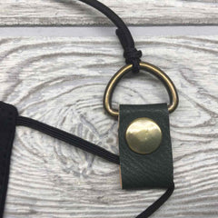 "Vegan Leather Face Mask Strap Holder 24"" - Olive Green"