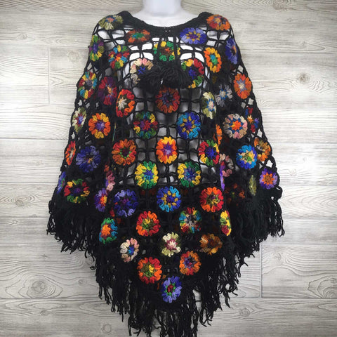 Amadara Women's Crochet Granny Square Boho Wool Poncho with Fringes - One Size Fits Most - Multicolored Black