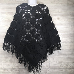 Women's Crochet Granny Square Boho Wool Poncho with Fringes - One Size Fits Most - Black
