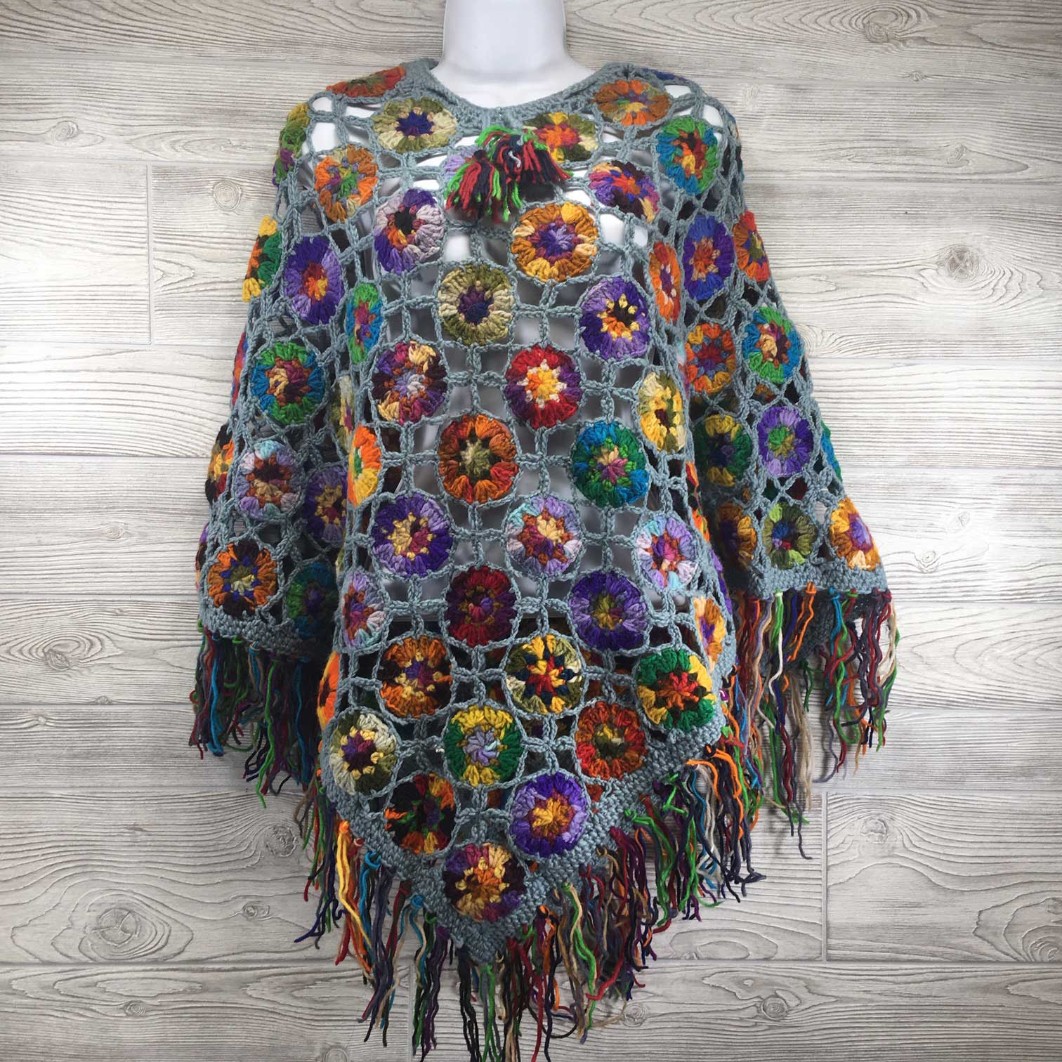 Women's Crochet Granny Square Boho Wool Poncho with Fringes - One Size Fits Most - Multicolored Blue