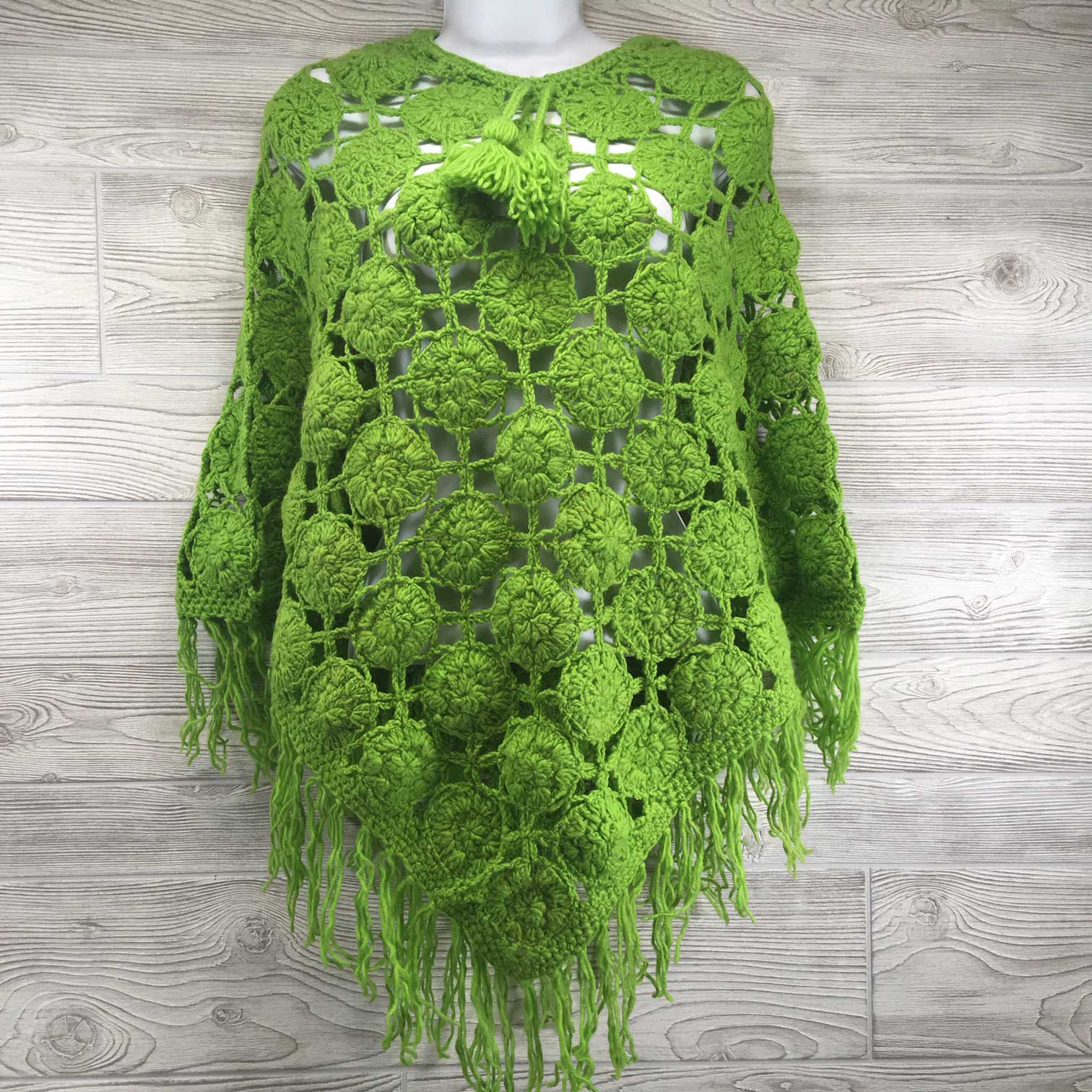 Women's Crochet Granny Square Boho Wool Poncho with Fringes - One Size Fits Most - Green