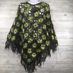 Women's Crochet Granny Square Boho Wool Poncho with Fringes - One Size Fits Most - Green and White