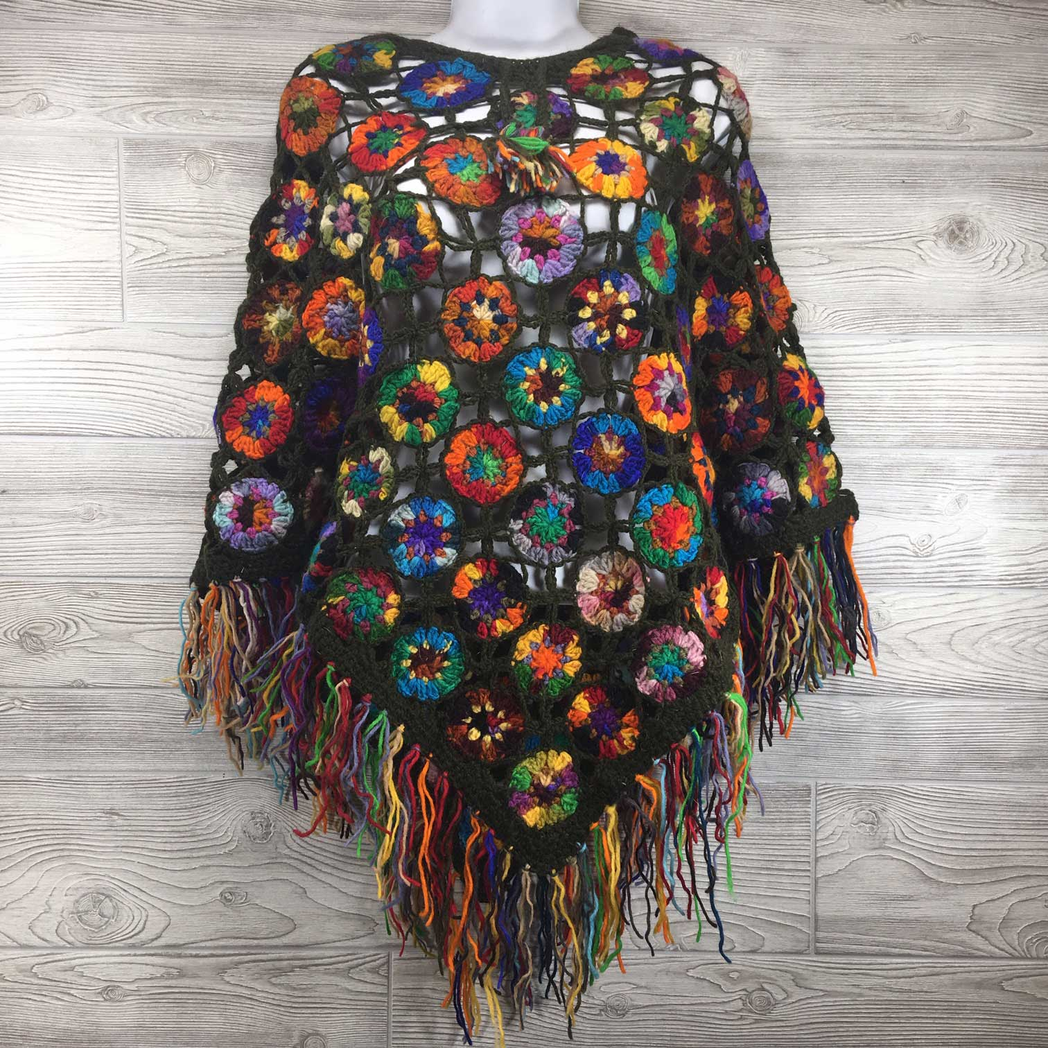 Women's Crochet Granny Square Boho Wool Poncho with Fringes - One Size Fits Most - Multicolored Dark Olive Green