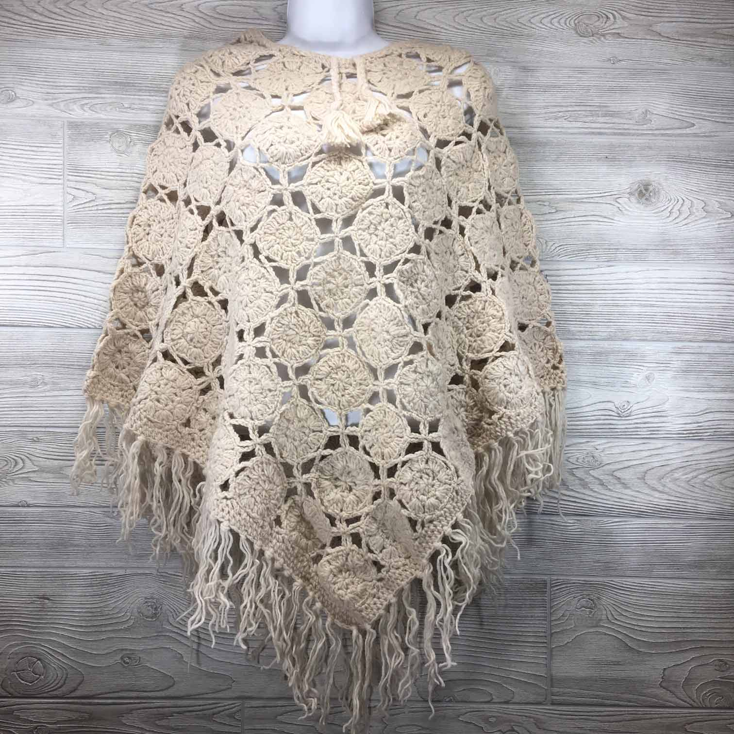 Womens Crochet Granny Square Boho Wool Poncho With Fringes One