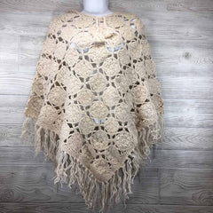 Women's Crochet Granny Square Boho Wool Poncho with Fringes - One Size Fits Most - White