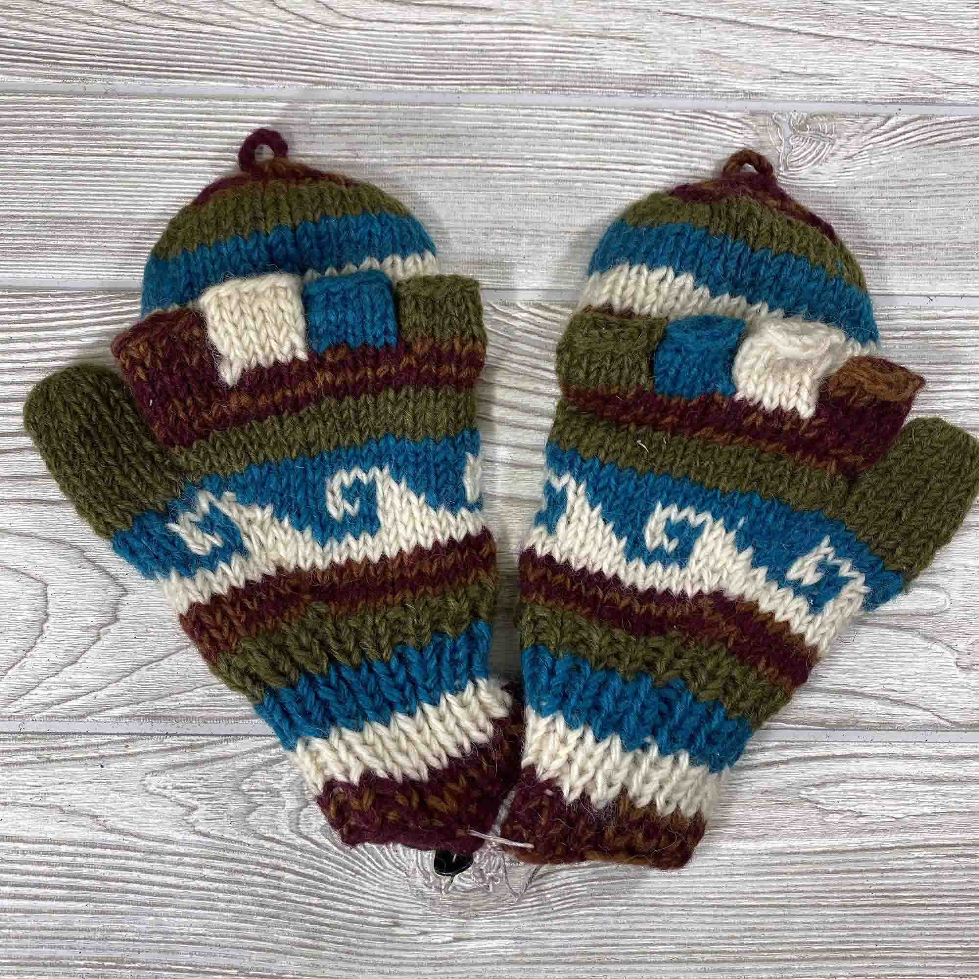 Handknit Wool Fingerless Mittens - Green Blue Wave