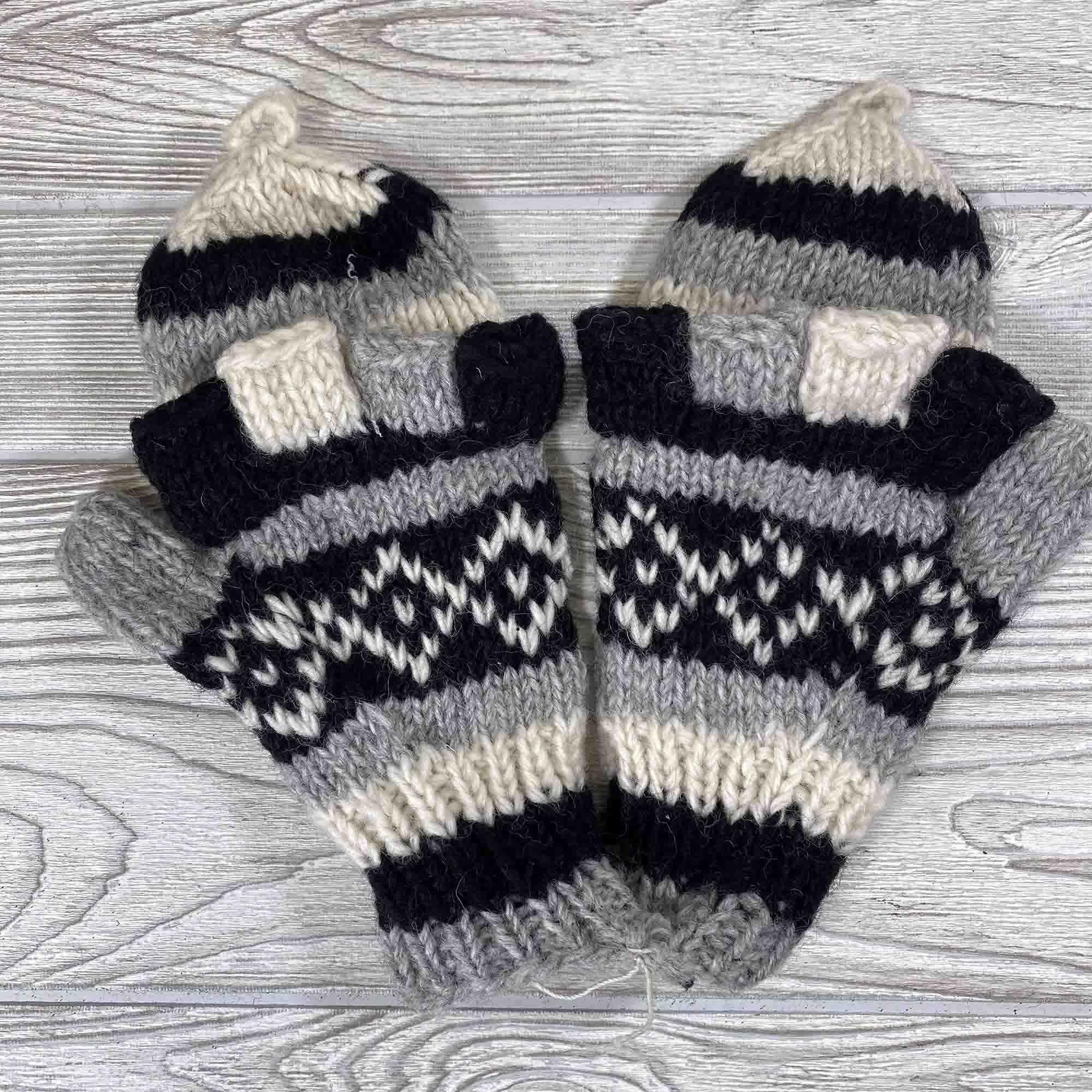 Handknit Wool Fingerless Mittens - Gray Black