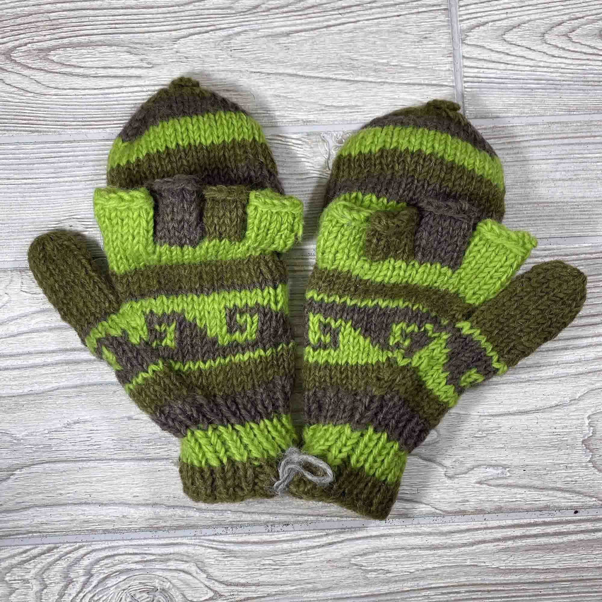 Handknit Wool Fingerless Mittens - Green Brown