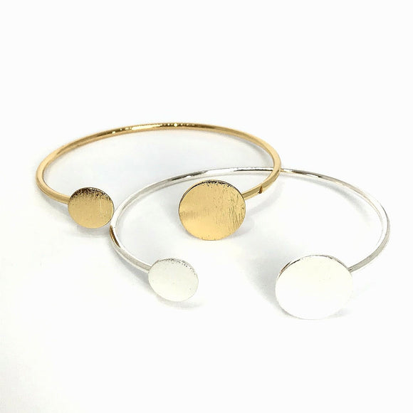 geometric circle open bangle in gold and silver