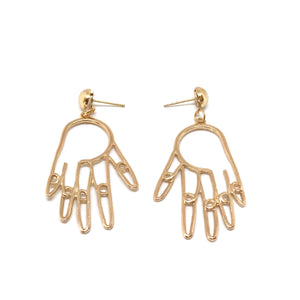 Hand Statement Earrings - gold artsy hand earrings, contemporary hand shape earrings, bold statement earrings - Kurumidori
